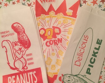 Circus/Carnival Party-30 Bags 10 Each: 10 Peanut- 10 Popcorn & 10 Pickle-Comes With 10  FREE Cookie Bags(40 Total bags)