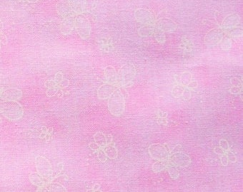 SALE - White Butterflies on Pink - 2 Yards, 1 1/2 Yards, 1 Yard, and 1/2 Yard                                             11/2017