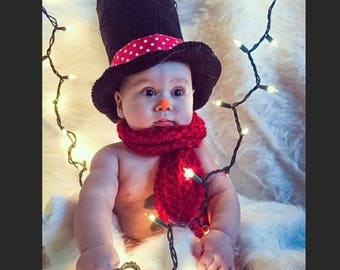 Newborn Christmas Outfit - Snowman Costume - Top Hat - Snowman Hat - Kids Snowman Hat - Christmas Newborn Props - Baby Lincoln - Photo Prop
