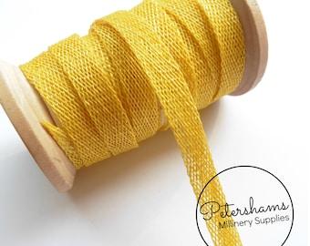 1cm Sinamay Bias Binding Tape Strip (1.6m/1.7yards) for Millinery & Hat Making - Yellow