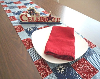 Western Table Runner Patchwork Bandana Americana Patriotic Fourth of July Rustic Picnic Red White Blue Reversible