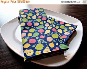 Christmas in July Sale Fruit Cloth Napkins Pears Apples Lemons Limes Birds Tomatoes Peaches Yellow Green Red Indigo Blue Eco Friendly 4 Piec