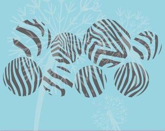 Zebra-Print Dots Vinyl Decals Wall Stickers, 8pc, Large Girl Bedroom Decor Art