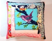 Pincushion, Purple Finch Log Cabin PIncushion with Hand Embroidery and Emery- Ready to Ship