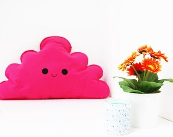 Large Hot Pink Happy Cloud Pillow, Kids Cloud Cushion, Plush Cloud, Cloud PiIlow, Cloud Room Decor, Girls Room, Baby Cloud Nursery Decor