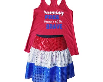 Memorial Day Costume, Fourth of July Costume, USA Costume, Patriotic Costume, Sparkle Skirt, Running Skirt, Red White Blue Costume