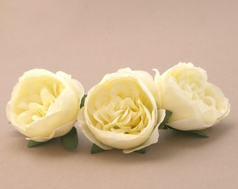 3 Small FRESH CREAM Cabbage Peonies  - Artificial Flower Heads