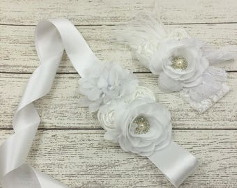Girl child baby Lace satin Rhinestone flowers picture prop wedding flower girl comunion birthday baptism sash belt and headband white 2pc