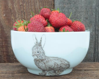 Small White Rabbit Bowl. Porcelain Illustrated Woodland Bowl. Handcrafted Pottery Bowl. Our favorite Ice Cream, Rice, Granola Bowl.