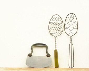 3 vintage kitchen tools utensils spatula chopper