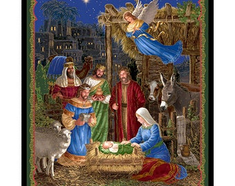 Quilting Treasures - In Bethlehem - Nativity Panel - 36 inch - Multi/Metallic Gold Christmas Fabric by Panel  25909-X