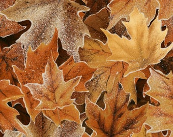 Hoffman - Frosted Fall - Packed Maple Leaves - Gold Ochre - Fabric by the Yard N7536-624