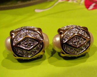 Vintage Signed AFJ Ambras Fine Jewelry Corp. Faux Pearl & Crystal Clip Earrings