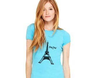 Eiffel Tower Shirt Paris France, World Travel, Bonjour Shirt, Hello in French, Short Sleeved Cotton Crewneck T Shirts for Women Graphic Tee