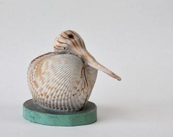 Vintage Seashell Art Bird Figurine Retro Beach Bird Decor Minimalist Statue Seashell Folk Art 1950s 1960s