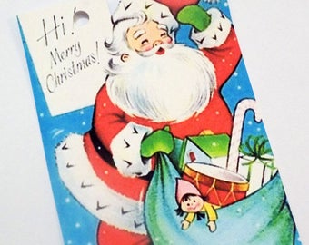 Retro Santa Tags - Set of 4 - Santa's Blue Bag - Christmas Eve - Santa And Toys - Red Blue Green - 1950's Xmas Tag - Merry Christmas Tag