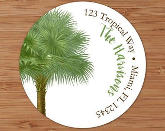 Tropical Palm Tree - Address Labels or Stickers