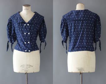 Polka dots blouse | Sailor navy shirt with white buttons | 1980's by cubevintage | medium