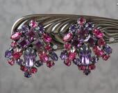 Vintage Fuchsia and Amethyst Rhinestone Dark Silver  Clip On Earrings
