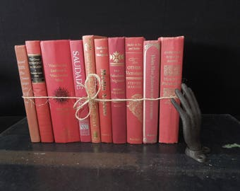Vintage Books for Decor - Red Berry Mix -  Books by Color- Foot of Books
