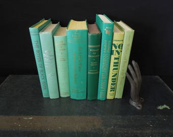 Green Book Stack - Home Staging - Vintage Wedding Decor - Books by Color