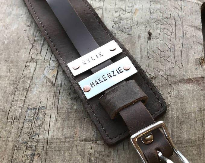 Leather Dad Bracelet Sterling Silver Leather & Copper custom made bracelet cuff