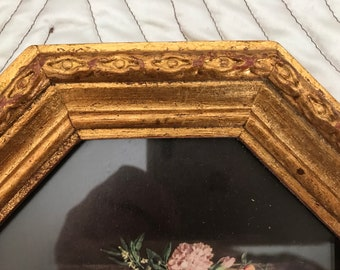 Vintage Frame Pair 8 sided Octagonal Gold Gilt Wood FRAMES Free Shipping