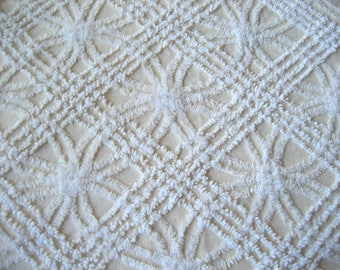 Cabin Crafts Butter Yellow and White Double Wedding Ring Vintage Chenille Bedspread Fabric