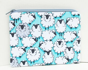 Sheep Zipper Pouch, Gray Lambs on  Turquoise, Eyes on Ewe Coin Purse
