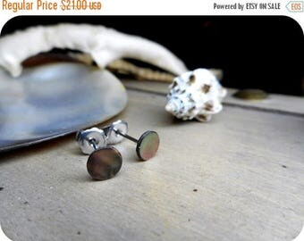 SALE METOPE - petite. Abalone shell and Titanium post stud earrings