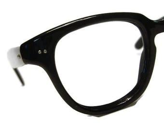 Vintage 50s Black Horned Rim Eyeglasses 46-24