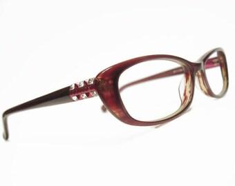 Vintage 70s Women's Burgany Cateye Eyeglasses Eyewear Frame France NOS