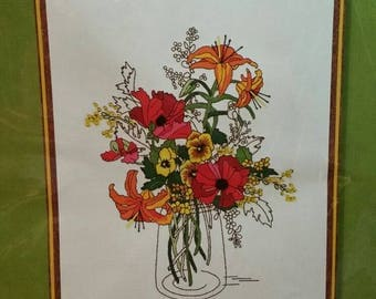 "Sunset Stitchery kit Crewel embroidery ""Spring Fever"" poppies, lilies, pansies, mason jar Drama Wall Art Orange Turquoise Wool Yarns Linen"