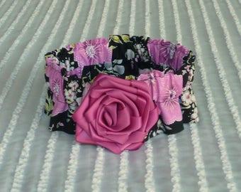 "Dog Ruffle Collar, Pet Bandana, Rose Flowers on Black Dog Scrunchie Collar with ribbon rose - Size M: 14"" to 16"" neck"