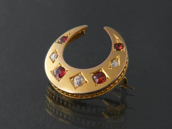 Edwardian Gold Brooch   9ct Gold, Diamond and Garnet Crescent Brooch   Edwardian Lace Pin   Antique Crescent Moon Brooch   Satin Finish Gold