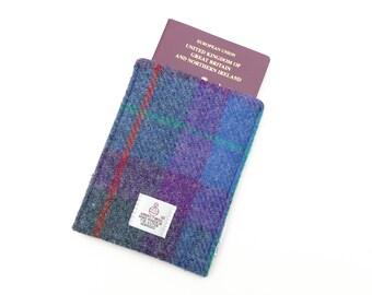 RFID Passport Holder, passport wallet, HARRIS TWEED passport case, blocking fabric passport folder