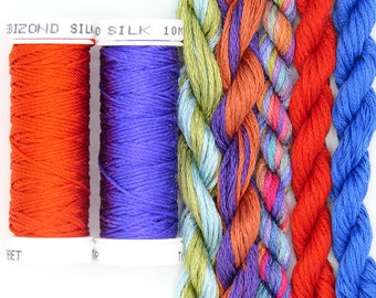 Free Design, PDF, Silk thread, needlepoint design, silk fibers, embroidery thread assortment, purple, orange, hand dyed thread, holiday gift