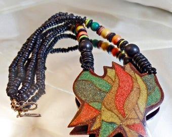 SALE Vintage Tribal Crushed Stone Necklace. Ebony African Black Wood Geometric Necklace.