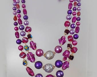 SALE Vintage Glass Bead Necklace.  Silver Satin Lucite and Purple Glass Beads. Seed Beads. Japan.