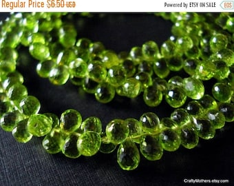 8% off SHOP-WIDE, Last Ones! Green PERIDOT Microfaceted Teardrop Briolettes, 6.5-7mm long, Set of 10 pieces, natural gems