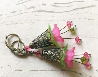 Pink Green Flower Earrings Lucite Enchanted Lotus Faerie by MinouBazaar