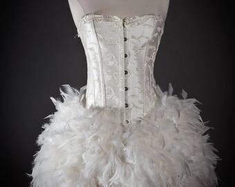 Custom Size Ivory vintage inspired Burlesque Feather Corset Dress Small-XL
