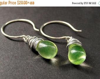 SUMMER SALE Teardrop Wire Wrapped Earrings in Lemon Lime and Silver. Handmade Jewelry by Gilliauna