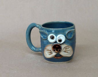 Gift for Mom. Handcrafted Pottery Mug by NelsonStudio. Fun Cat Face Mug in Speckled Blue. Food Safe Microwave and Dishwasher Safe Tea Cup.