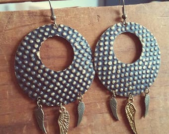 Bohemian Hoop Earrings with Feathers and Wings