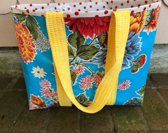 Mum's the word--Large reversible  floral oilcloth tote bag in sky blue
