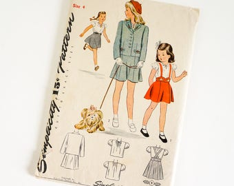 HTF Vintage 1940s Girls Size 4 Blouse Skirt and Jacket with Transfers Simplicity Sewing Pattern 4969 Complete / b23 w21