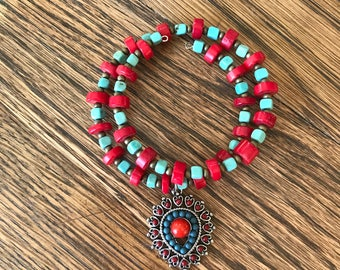 Memory Wire Stacked Beaded Bracelet with dangle charm, Red Coral and Turquoise Howlite