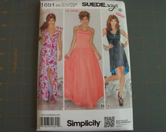 Simplicity 1691 Misses Dress in Two Lengths with Bodice Variations Sizes 4-12 NEW