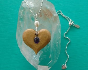 Hand Carved Heart Necklace in Satin Wood with Sterling Silver, Amethyst, Freshwater Pearl and Adjustable Bead Chain, Unique Gift for Her